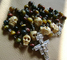 Tiger Eye Beads & Bone Skull CATHOLIC ROSARY & San Damiano CROSS NECKLACE