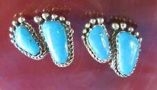 Ohrstecker Ohrring Sterling Silber 925 Fuß 2 Füße Füßchen mit Türkis