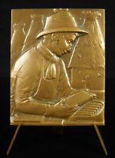 Médaille Apiculture Apiculteur Abeille ruche 1975 Lamourdedieu plaquette medal