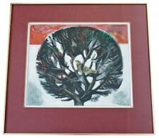 Mid Century Modern Framed Drawing Signed Aldo Londino Dated 1960s Bird in Tree
