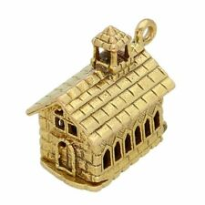 9Carat Yellow Gold Openable Church/ Marriage Charm (14x15mm)