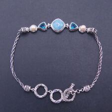 Antique 925 Silver Natural Larimar Dominica Gemstone Pearl CZ Bracelet Bangle