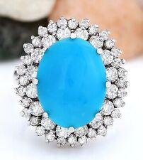10.82 Carat Natural Turquoise 14K Solid White Gold Diamond Ring