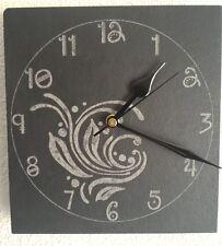 Slate Wall Clock Swirl Design - Laser Engraved Face - Quartz Movement