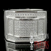 MEN'S NEW WHITE GOLD OVER STERLING SILVER TARNISH FREE A++ CZ'S PINKY RING BAND