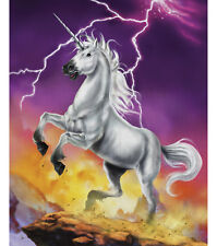 NEW LARGE UNICORN & LIGHTNING PANEL WALL HANGING FABRIC MATERIAL QUILTS DECOR #2