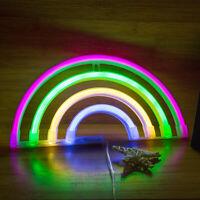 USB/Battery Powered Night Lamp Neon Light LED Rainbow Sign Shaped Room Decor