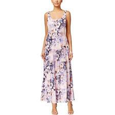 Nine West 3268 Womens Purple Printed Sleeveless Maxi Dress 8 BHFO