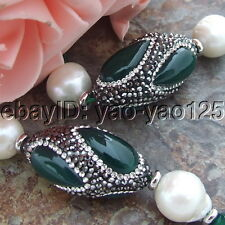 H070701 46'' 12mm White keshi Pearl Agate CZ  Necklace