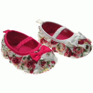 Cute Baby Girls vintage Rose Shoes with Elastic Strap & Satin Bow by Soft Touch