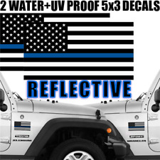 $6 Hunger Initiative Donation, 2 Blue Line Flag Bumper Car Stickers (REFLECTIVE)