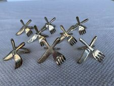 Knife and Fork Silverplate Napkin Rings Set of 8