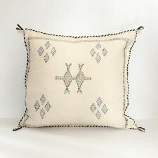 Vintage Washed Moroccan White Sabra Silk Cactus Pillow Cover Handmade Kilim Rug