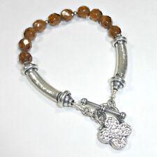 Silpada Good Luck Clover Smoky Topaz Bracelet Sterling Silver Brown Charm B0689