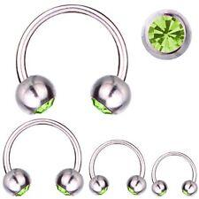 Circular Barbell Horseshoe Piercing Titanium 1,2 mm, SWAROVSKI ELEMENTS Green
