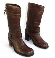 FREE LANCE Bottes boots Mid BIKER tout cuir marron noisette 37 EXCELLENT ETAT