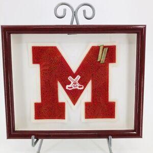 Varsity Letterman Patch Chenille Letter M Ice Hockey Red White Shadowbox UMass?