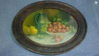 Vintage Oval Tin Metal Frame Art Print Picture Fruit Strawberries Home Decor