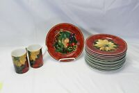 Hallmark Sakura Holiday Abundance Xmas 15 Salad Plates 2 Mugs Different Designs