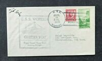 1935 USS Worden US Navy Cover to Gloversville New York Commissioned Cancel