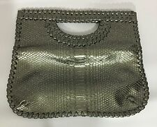 Big Buddha Nickel Gray Metallic Tote Handbag Purse Convertible With Chain Strap
