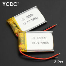 2Pcs 402030 3.7V 200mAh Lipo Battery Replacement For GPS Smart Watch MP3 MP4 CD
