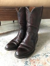 LUCCHESE Goat Leather Boots Roper Western Black Cherry Cordovan L6749 USA 9.5