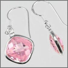 Sterling Silver Rhombus Drop Earrings CZ Pink #65373