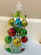 "Christmas Tree Mini Glass Tree with Ornaments 6.5"" Tall"