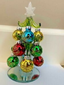 "Christmas Tree Mini Glass Tree with Ornaments 6.5"" Tall"