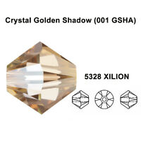 CRYSTAL GOLDEN SHADOW (001 GSHA) Genuine Swarovski 5328 Bicone Beads *All Sizes