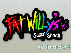 Fat Willy's Surf Shack Stickers X 2 Included (Newquay Cornwall) 10cm, Laminated
