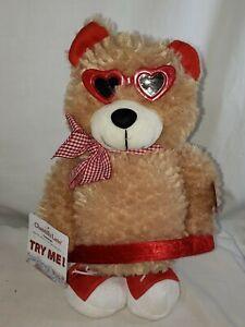 "Chantilly Lane Musical Dancing Hula Hoop Bear - ""Sugar Pie"" - Heart Glasses NWT"