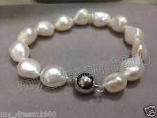 Genuine 8-9mm Baroque Natural White freshwater Culturred pearl bracelet 7.5''