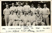 Cricket. The Middlesex Team & Facsimile Signatures.