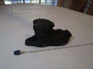 Bandanna 1982 sculptures Black pug vintage resin has damage figure laying down ~