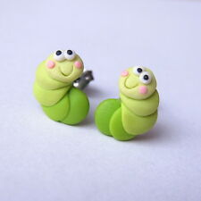 Green Caterpillar Earrings Animal Bug Funny Gift Idea Garden Party BBQ Earrings