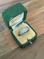 Gorgeous Marked Sterling Silver & C Z Size K 1/2  Band Ring 3.55gr