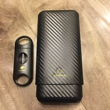 Cohiba Carbon Fiber 3 Ct Wooden Cigar Case Travel Humidor w/ Free V Blade Cutter