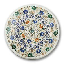 "36"" Marble round floral inlay semi precious stone Table Top home decor"