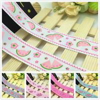 NEW 1 5 10 Yards 1'' 25mm Watermelon Printed Grosgrain Ribbon Hair Bow Sewing J