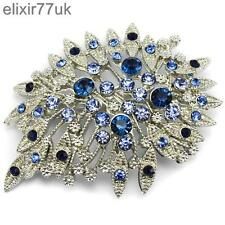 NEW LARGE SILVER FLOWER BROOCH BLUE DIAMANTE CRYSTAL WEDDING PARTY BROACH GIFT