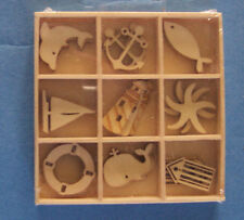 Wooden Box of 27 plywood seaside craft shapes decorations card topper elements