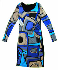 Apriori Kleid 38 mit Stretch Muster langarm Viskose dress robe neu m. Etikett