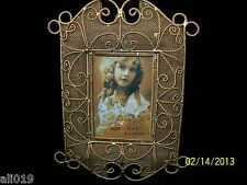 """Gold Metal Rope and Mesh Design 3 1/2"""" X 5"""" Photo Frame with Easel Stand"""