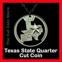 Texas Lone Star State 25¢ TX Quarter Necklace Charm Pendant Cut Coin Store