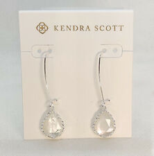 New Kendra Scott Macrame Dee Silver Drop Earrings In Mother of Pearl
