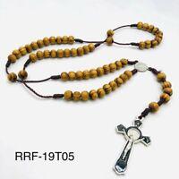 Rosary Wood Brown St Benedict Jesus Crucifix Cross CATHOLIC Rosario Necklace
