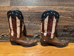 Laredo Dan Post American Flag Red White Blue Star Western Boots Womens 9