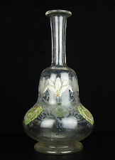 Carafe à alcool ancienne en verre émaillé gravée à l'acide vers 1900 Karaffe